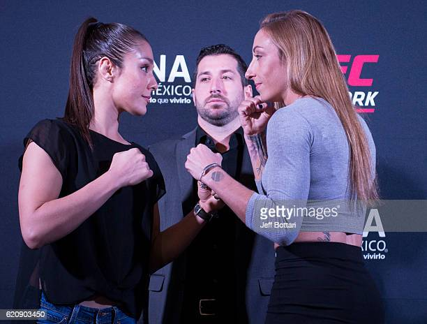Alexa Grasso of Mexico and Heather Jo Clark of the United States face off during the UFC Fight Night Ultimate Media Day at the Auditorio Blackberry...