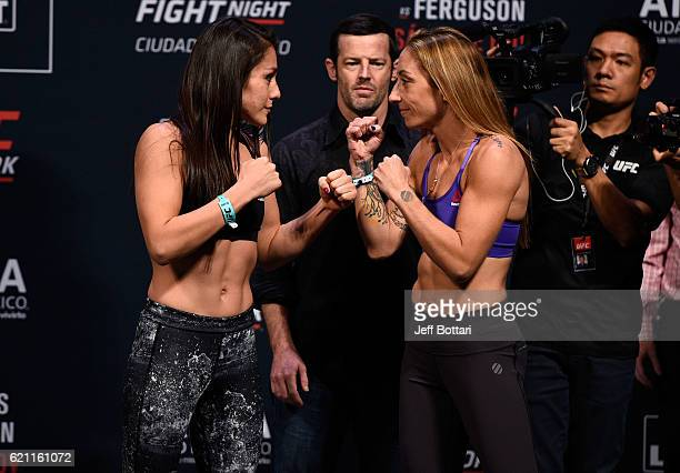 Alexa Grasso of Mexico and Heather Jo Clark of the United States face off during the UFC weighin at the Arena Ciudad de Mexico on November 4 2016 in...