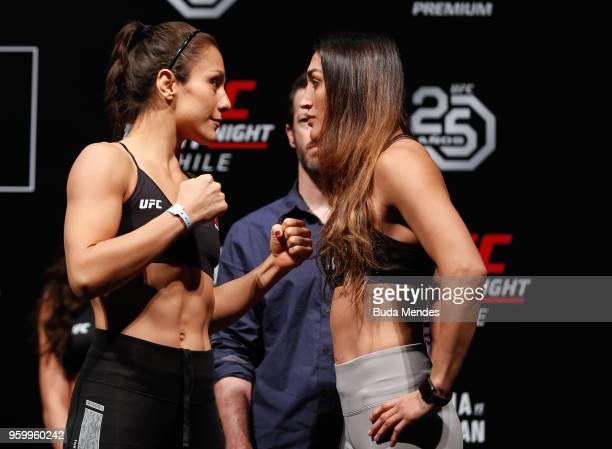 Alexa Grasso of Mexico and Tatiana Suarez of the United States face off during during the UFC Fight Night weighin at Movistar Arena on May 18 2018 in...