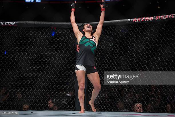 Alexa Grasso of Mexico celebrates after her fight against Heather Jo Clark of the United States during the UFC Fight Night at the Arena Ciudad de...