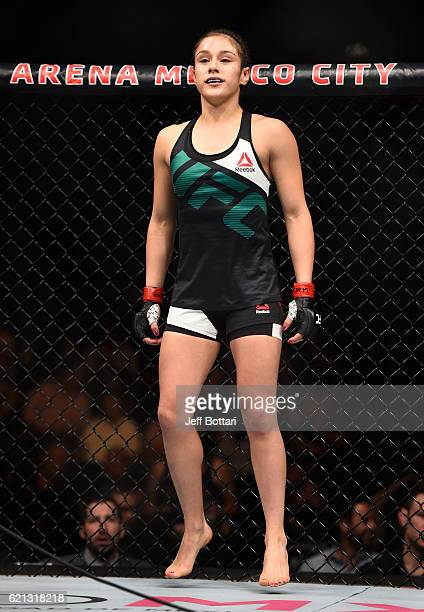 Alexa Grasso of Mexico enters the Octagon before facing Heather Jo Clark of the United States in their women's strawweight bout during the UFC Fight...