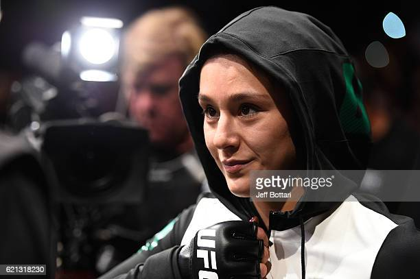 Alexa Grasso of Mexico prepares to enter the Octagon before facing Heather Jo Clark of the United States in their women's strawweight bout during the...