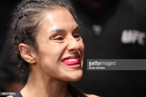 Alexa Grasso of Mexico prepares to fight Tatiana Suarez in their women's strawweight bout during the UFC Fight Night event at Movistar Arena on May...
