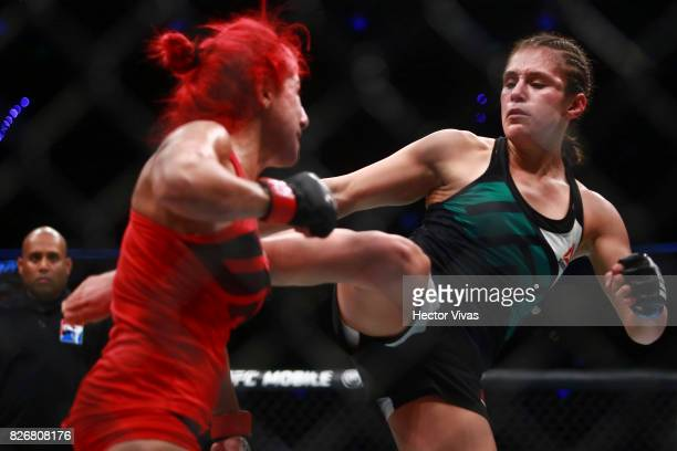 Alexa Grasso of Mexico punches Randa Markos of Canada during the UFC Fight Night Mexico City at Arena Ciudad de Mexico on August 05 2017 in Mexico...