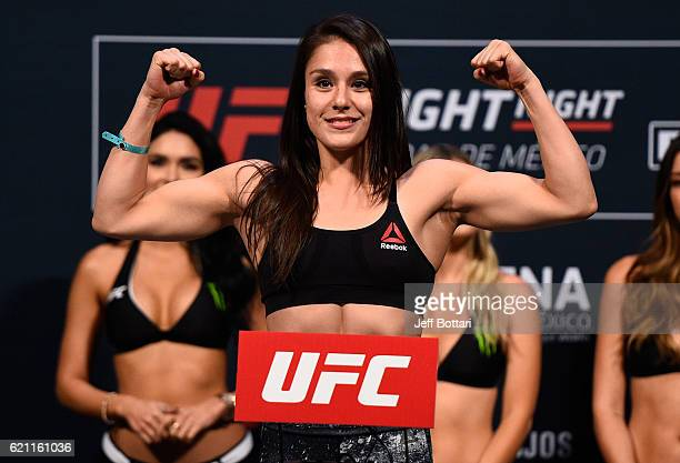 Alexa Grasso of Mexico steps onto the scale during the UFC weighin at the Arena Ciudad de Mexico on November 4 2016 in Mexico City Mexico