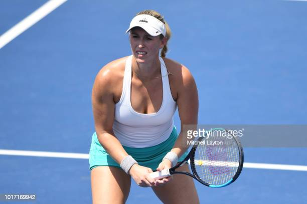 Alexa Guarachi of Chile prepares for a shot during the Women's Doubles final against Xinyun Han of China and Darija Jurak of Croatia on Day Nine of...