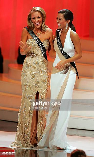 Alexa Jones Miss Alabama and Monica Pang Miss Georgia embrace after they were chosen as two of the top five finalists in the 2006 Miss America...