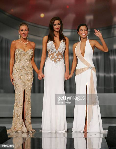 Alexa Jones Miss Alabama Jennifer Berry Miss Oklahoma and Monica Pang Miss Georgia wait for the announcement of the winner of the 2006 Miss America...