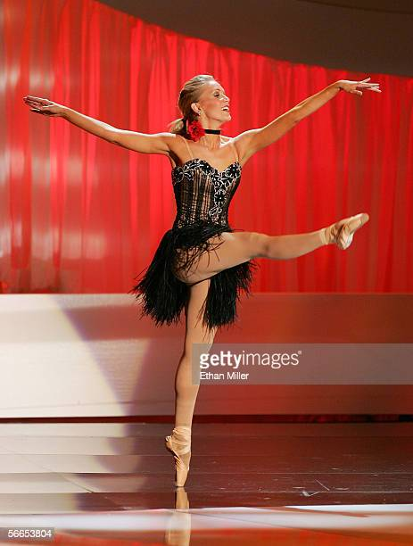 Alexa Jones Miss Alabama performs ballet as she competes in the talent portion of the Miss America Pageant at the Aladdin Theatre for the Performing...