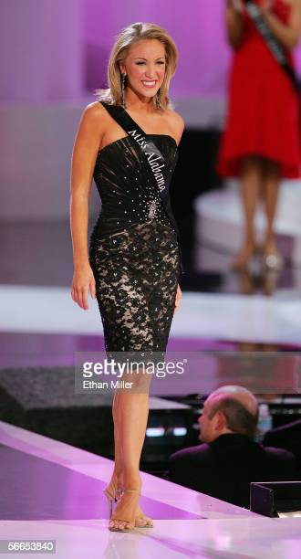 Alexa Jones Miss Alabama smiles after being chosen as a top ten finalist in the 2006 Miss America Pageant at the Aladdin Theatre for the Performing...