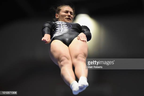 Alexa Kennedy of New Zealand competes during the Women's Individual on day one of the Trampoline World Cup at Yamato Citizens Gymnasium Maebashi on...