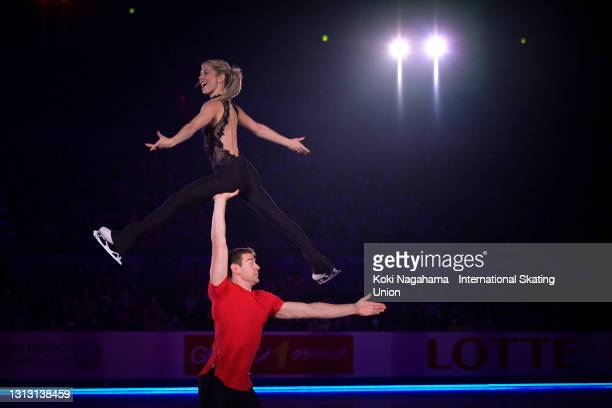 Alexa Knierim and Brandon Frazier of the United States perform during the gala exhibition of ISU World Team Trophy at Maruzen Intec Arena Osaka on...