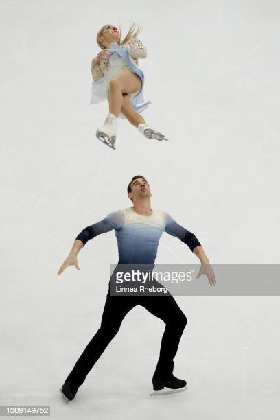 Alexa Knierim and Brandon Frazier of United States perform in Pairs Free Skating during ISU World Figure Skating Championships at Ericsson Globe on...