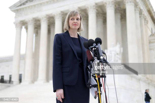 Alexa Kolbi-Molinas, senior staff attorney with the ACLU Reproductive Freedom Project, speaks to members of the press after the oral arguments of the...