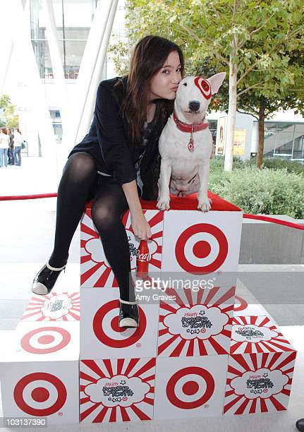 Alexa Nikolas poses for a photo with BullsEye the Target mascot at the 2008 Target presents Variety's 'Power of Youth' benefit for St Jude held at...