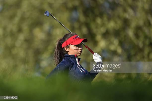 Alexa Pano of Team USA looks on during the fourballs on day one of the 2018 Junior Ryder Cup at Disneyland Paris on September 24 2018 in Paris France