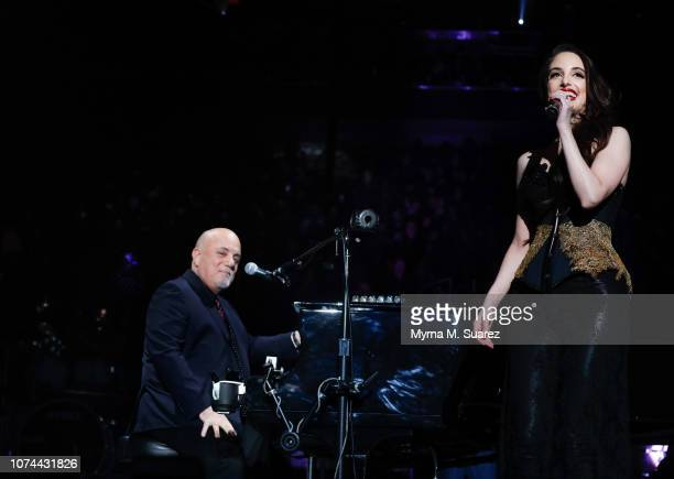 Alexa Ray Joel joins her father Billy Joel onstage for a duet of the holiday classic 'Merry Little Christmas' during Billy Joel's sold out show at...