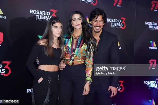 Alexa Regil, Bárbara de Regil and Fernando Schoenwald poses for photos during the red carpet and presentation of the 3rd season of 'Rosario Tijeras'...