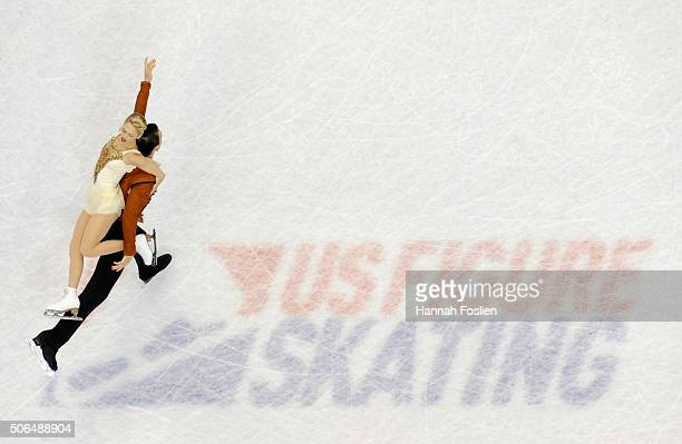 Alexa Scimeca and Christopher Knierim compete in the Pairs' Free Skate at the 2016 Prudential U.S. Figure Skating Championship on January 23, 2016 at...