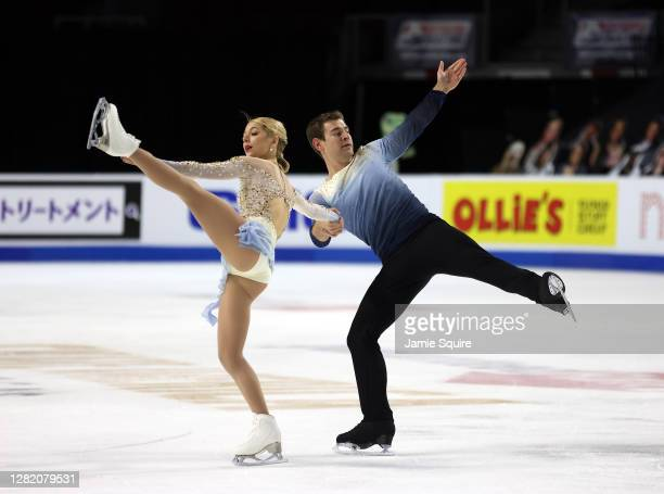Alexa Scimeca Knierim and Brandon Frazier of the USA compete in the Pairs Free Skating program during the ISU Grand Prix of Figure Skating at the...