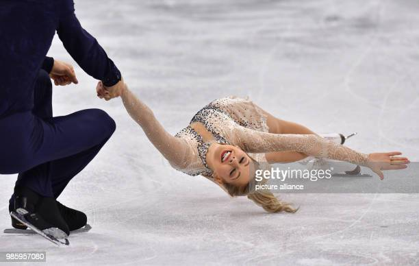 Alexa Scimeca Knierim and Chris Knierim from the US in action during the figure skating pairs short program of the 2018 Winter Olympics in the...