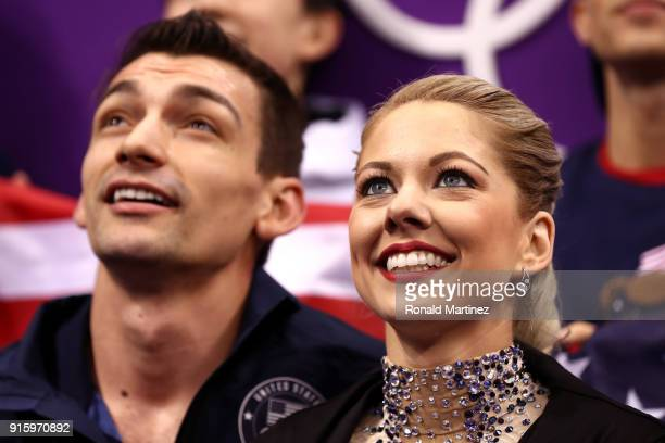 Alexa Scimeca Knierim and Chris Knierim of the United States await their scores after competing in the Figure Skating Team Event - Pair Skating Short...