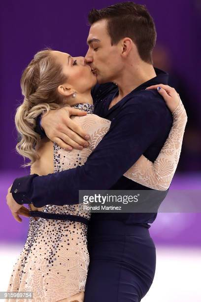 Alexa Scimeca Knierim and Chris Knierim of the United States compete in the Figure Skating Team Event Pair Skating Short Program during the...