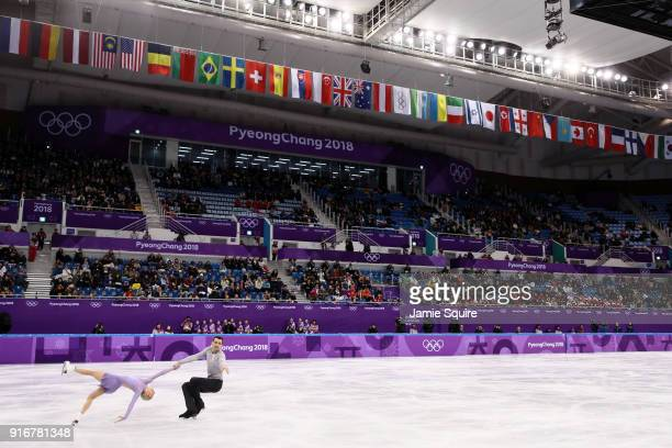 Alexa Scimeca Knierim and Chris Knierim of the United States compete in the Figure Skating Team Event – Pairs Free Skating on day two of the...