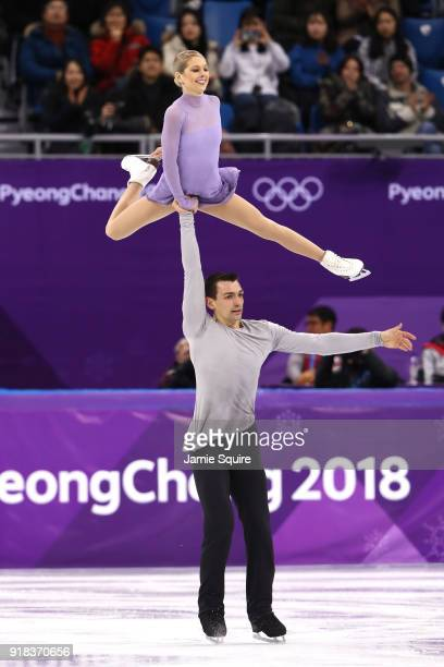 Alexa Scimeca Knierim and Chris Knierim of the United States compete during the Pair Skating Free Skating at Gangneung Ice Arena on February 15, 2018...