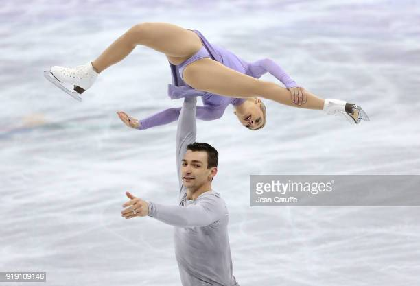 Alexa Scimeca Knierim and Chris Knierim of the United States compete during the Figure Skating Team Event - Pair Free Skating on day two of the...