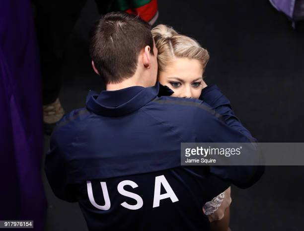 Alexa Scimeca Knierim and Chris Knierim of the United States embrace before the Pair Skating Short Program on day five of the PyeongChang 2018 Winter...