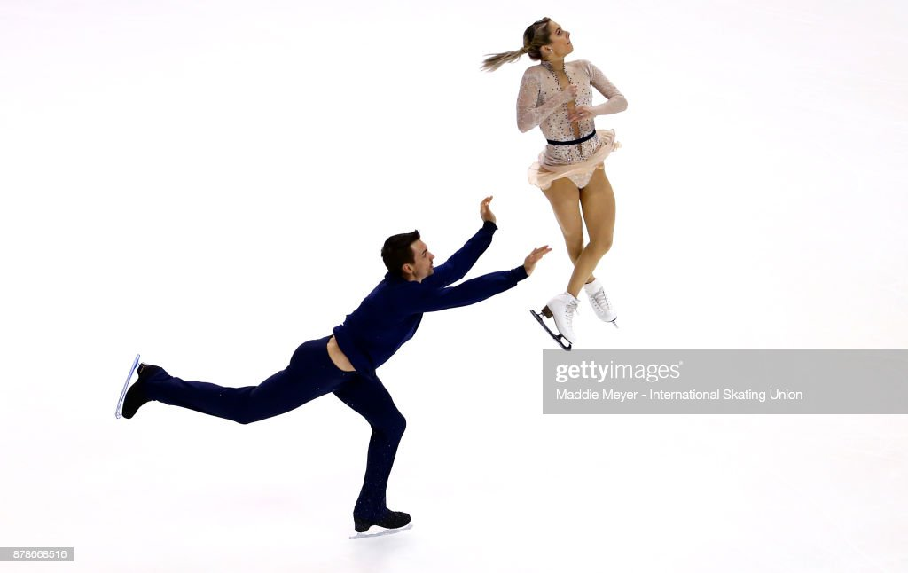 Alexa Scimeca Knierim and Chris Knierim of the United States perform during the Pairs Short program on Day 1 of the ISU Grand Prix of Figure Skating at Herb Brooks Arena on November 24, 2017 in Lake Placid, United States.