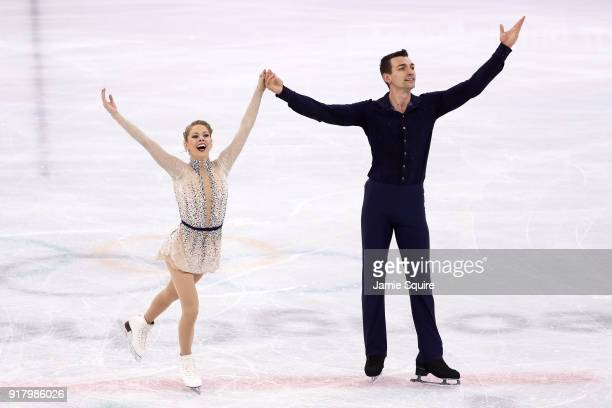 Alexa Scimeca Knierim and Chris Knierim of the United States react after their routine during the Pair Skating Short Program on day five of the...