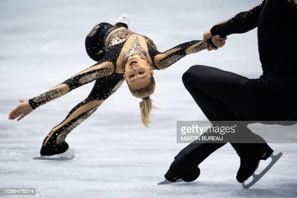 TOPSHOT Alexa Scimeca Knierim and Chris Knierim of the US perform during the pairs short program at the figure skating NHK Trophy in Hiroshima on...