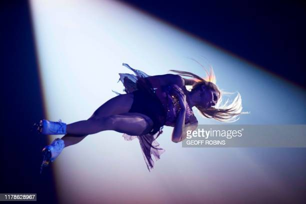 Alexa Scimeca Knierim of the United States performs during the exhibition gala at the 2019 Skate Canada International ISU Grand Prix event in...