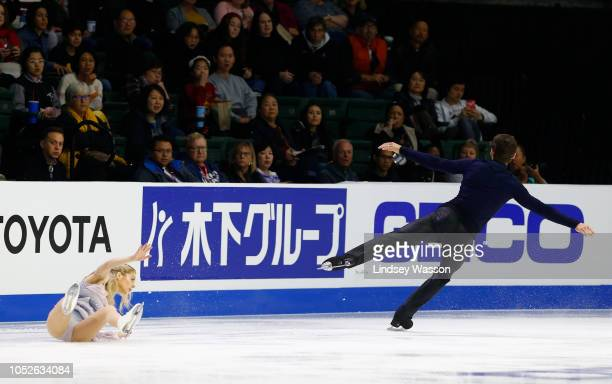 Alexa Scimeca Knierim of the USA falls during a jump while performing with Chris Knierim in the Pairs Free Skating in day two of the 2018 ISU Grand...