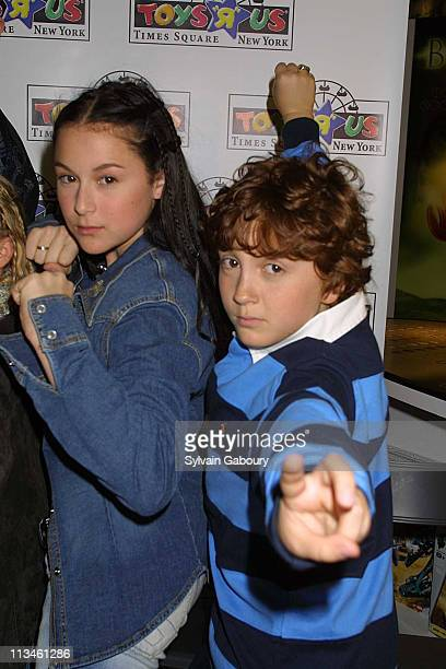 Alexa Vega Daryl Sabara during 'Spy Kids' stars sign autographs at Toys R Us NY at Times Square in New York New York United States