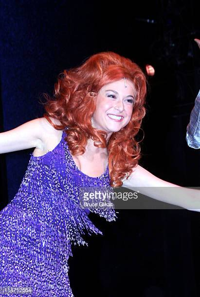 Alexa Vega during her curtain call during Alexa Vega and Ashley Parker Angel Hairspray Opening Night Party and Bows at The Neil Simon Theater then...