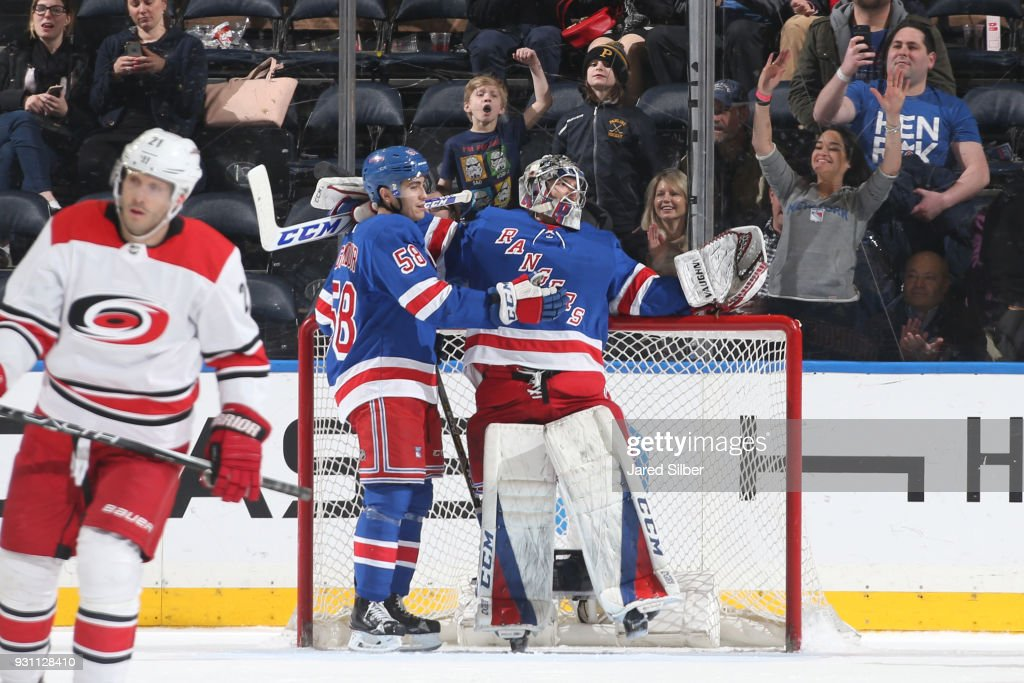 Alexandar Georgiev #40 of the New York Rangers celebrates after getting the 6-3 win against the Carolina Hurricanes at Madison Square Garden on March 12, 2018 in New York City.