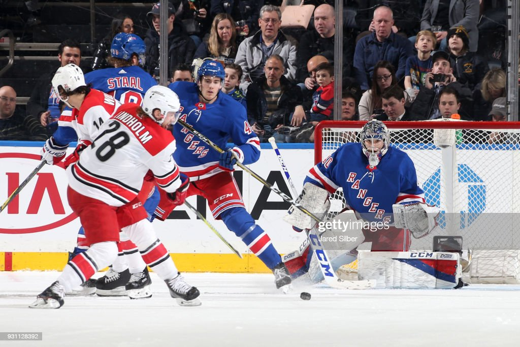 Alexandar Georgiev #40 of the New York Rangers tends the net against the Carolina Hurricanes at Madison Square Garden on March 12, 2018 in New York City.