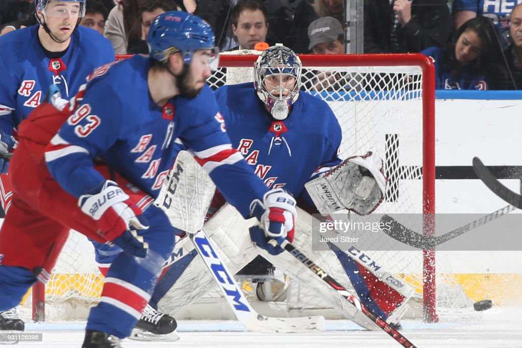 Alexandar Georgiev #40 of the New York Rangers tracks the puck against the Carolina Hurricanes at Madison Square Garden on March 12, 2018 in New York City.