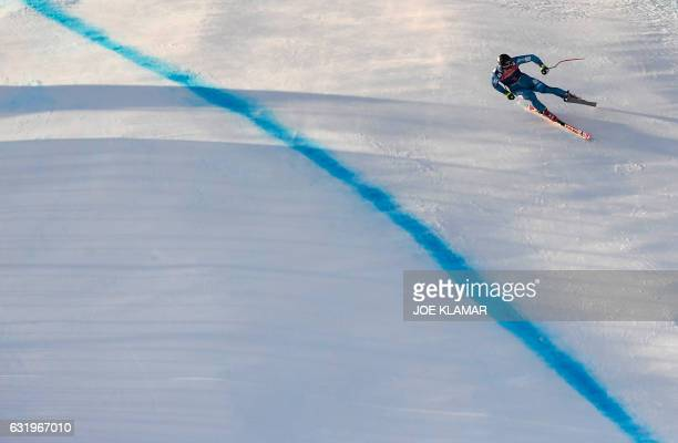 TOPSHOT Alexander Aamodt Kilde of Norway competes during the men's downhill practice of the FIS Ski Alpine World Cup at the Hahnenkamm ski run in...