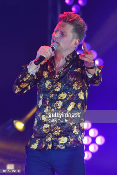 Alexander Acha performs on stage during the recording of the new DVD of Los Socios del Ritmo at Foro 360 on August 7, 2018 in Mexico City, Mexico.