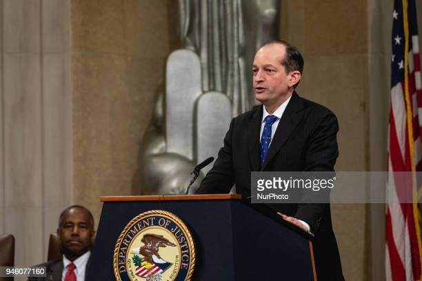 R Alexander Acosta Secretary of Labor speaks at a ceremony for the Fair Housing Act 50th Anniversary at the US Department of Justice in Washington DC...