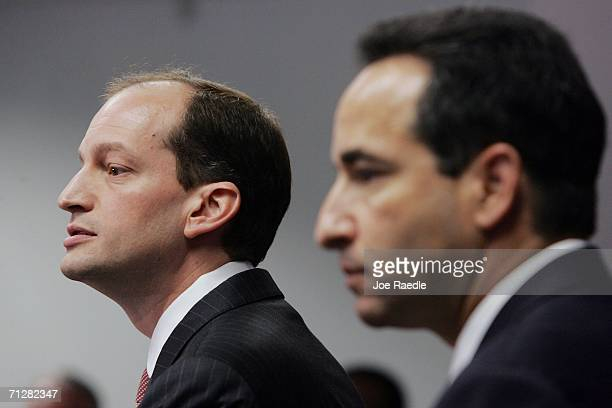 Alexander Acosta US Attorney Southern Florida and FBI special agent in charge Jonathan Solomon speak to the media at the Florida Federal Justice...