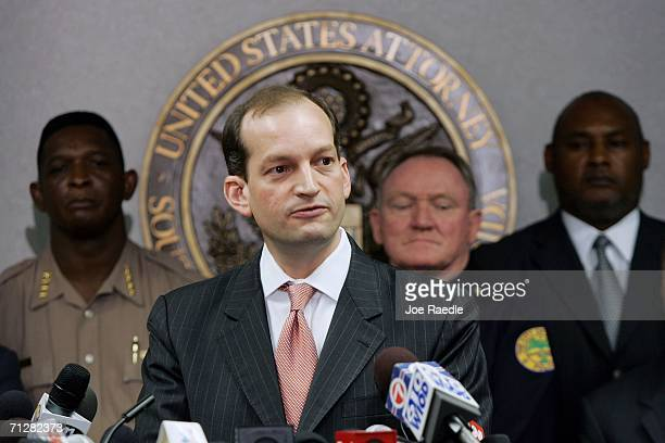 Alexander Acosta US Attorney Southern Florida speaks to the media at the Florida Federal Justice building June 23 2006 in Miami Florida Acosta spoke...