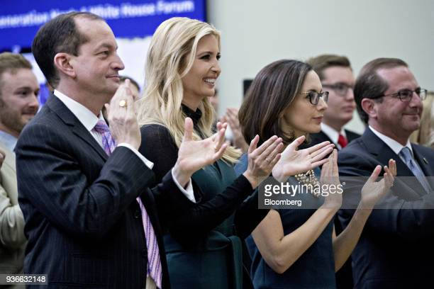 Alexander Acosta US labor secretary from left Ivanka Trump assistant to US President Donald Trump Sarah Flores director of public affairs at the US...