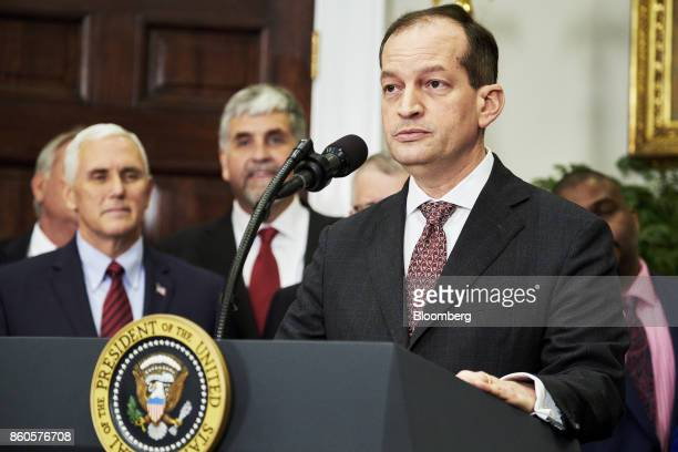 Alexander Acosta US labor secretary speaks before US President Donald Trump not pictured signs an executive order on health care in the Roosevelt...