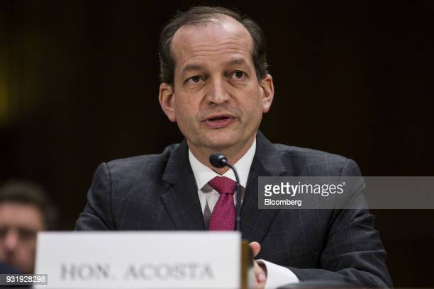 Alexander Acosta US labor secretary speaks during a Commerce Science and Transportation hearing on infrastructure in Washington DC US on Wednesday...