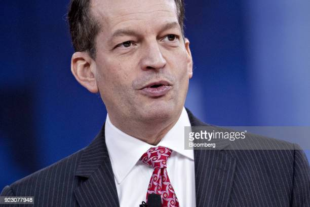 Alexander Acosta US labor secretary speaks during a discussion at the Conservative Political Action Conference in National Harbor Maryland US on...